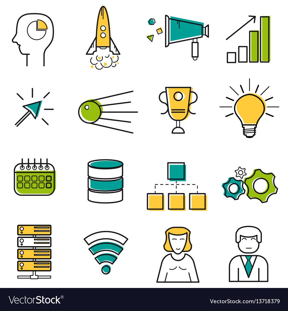 Set colored server and startup line icons vector image