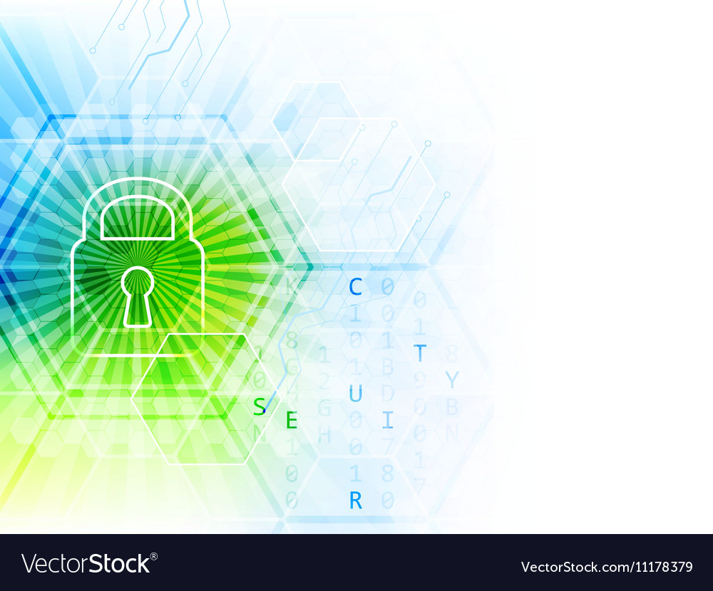 Technological abstract background with lock vector image