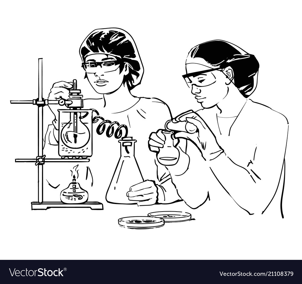 Two female scientists with test tubes