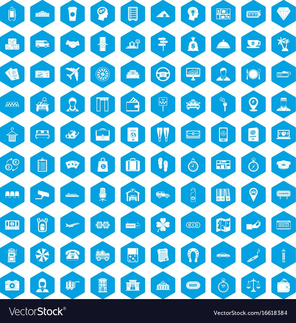 100 paying money icons set blue