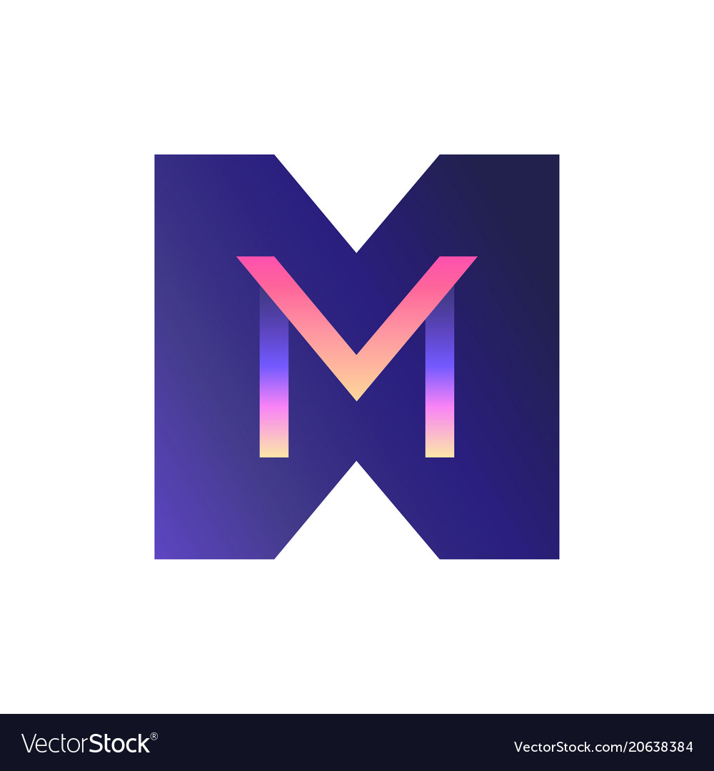 3d gradient logo the letter m