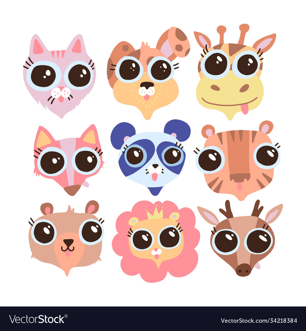 Cute animal faces with big eyes a set