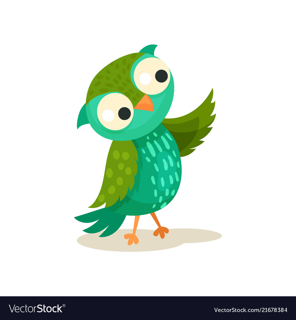 Cute colorcful owlet pointing with wing sweet owl