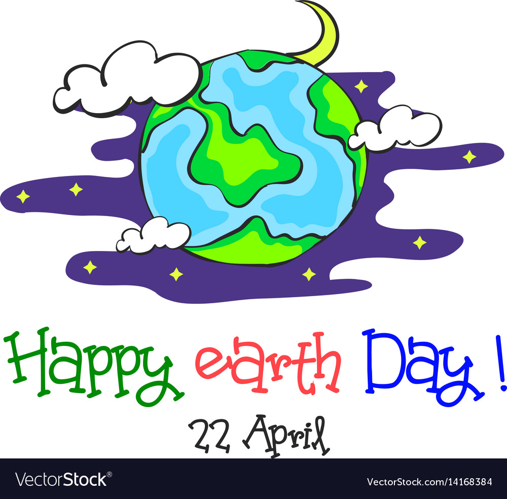 Earth day cartoon world at night