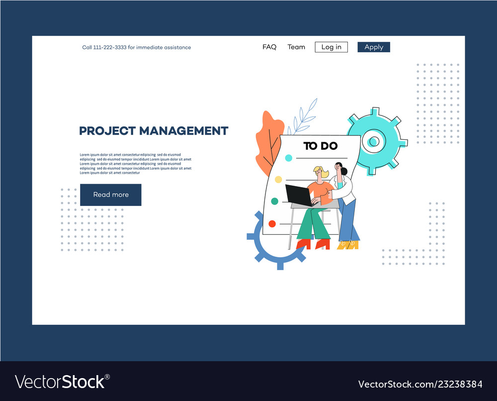 Flat project management outsource web page