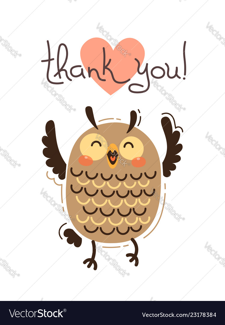 Funny owl says thank you in