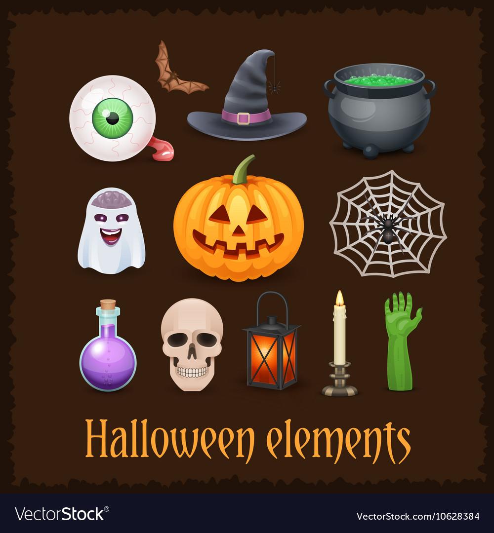 Happy Halloween elements on dark background