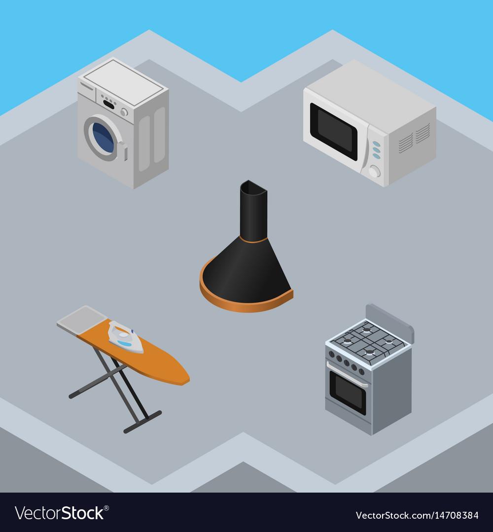 Isometric appliance set of laundry cloth iron vector image