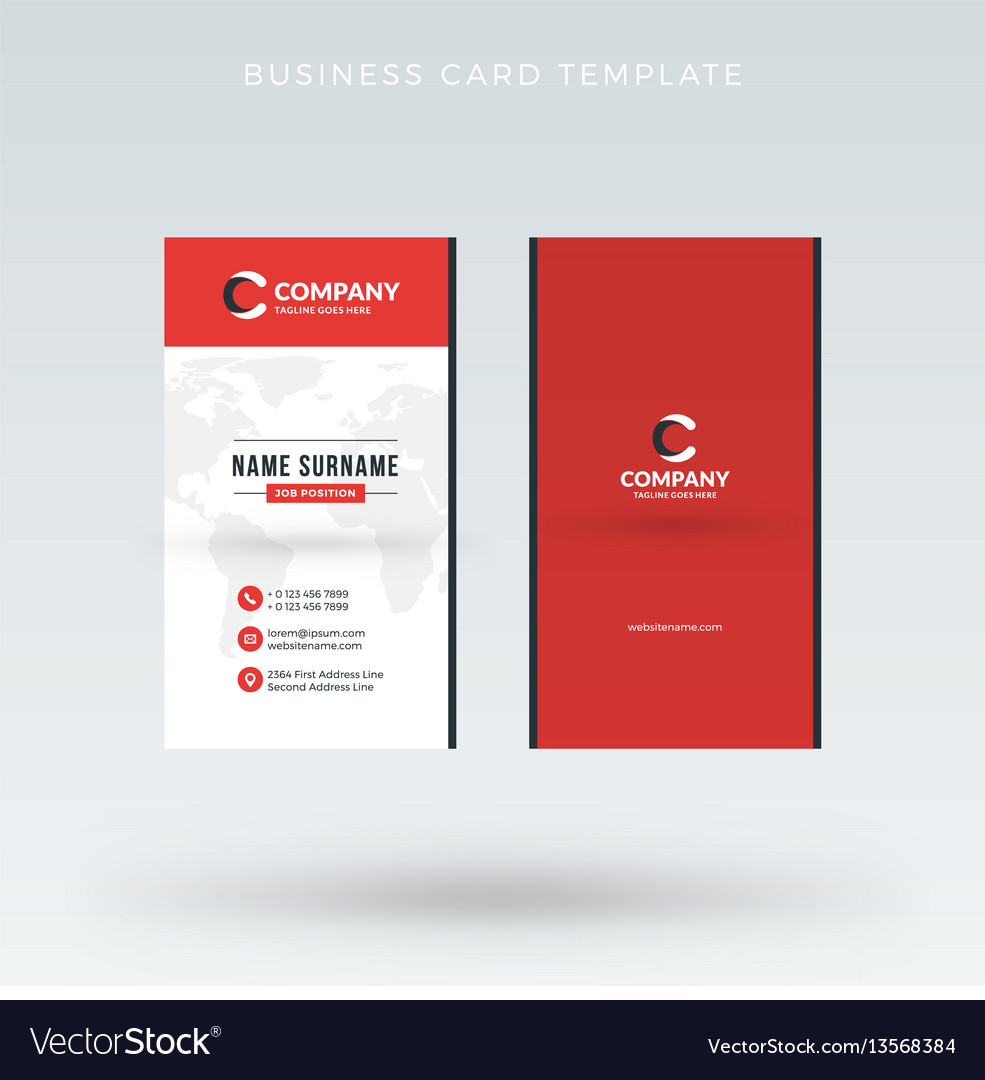 Modern creative vertical red business card vector image accmission Gallery