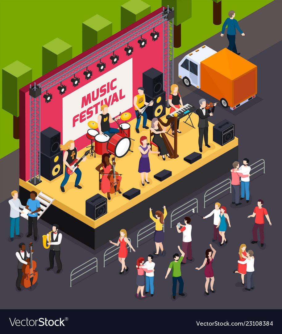 Music festival isometric composition