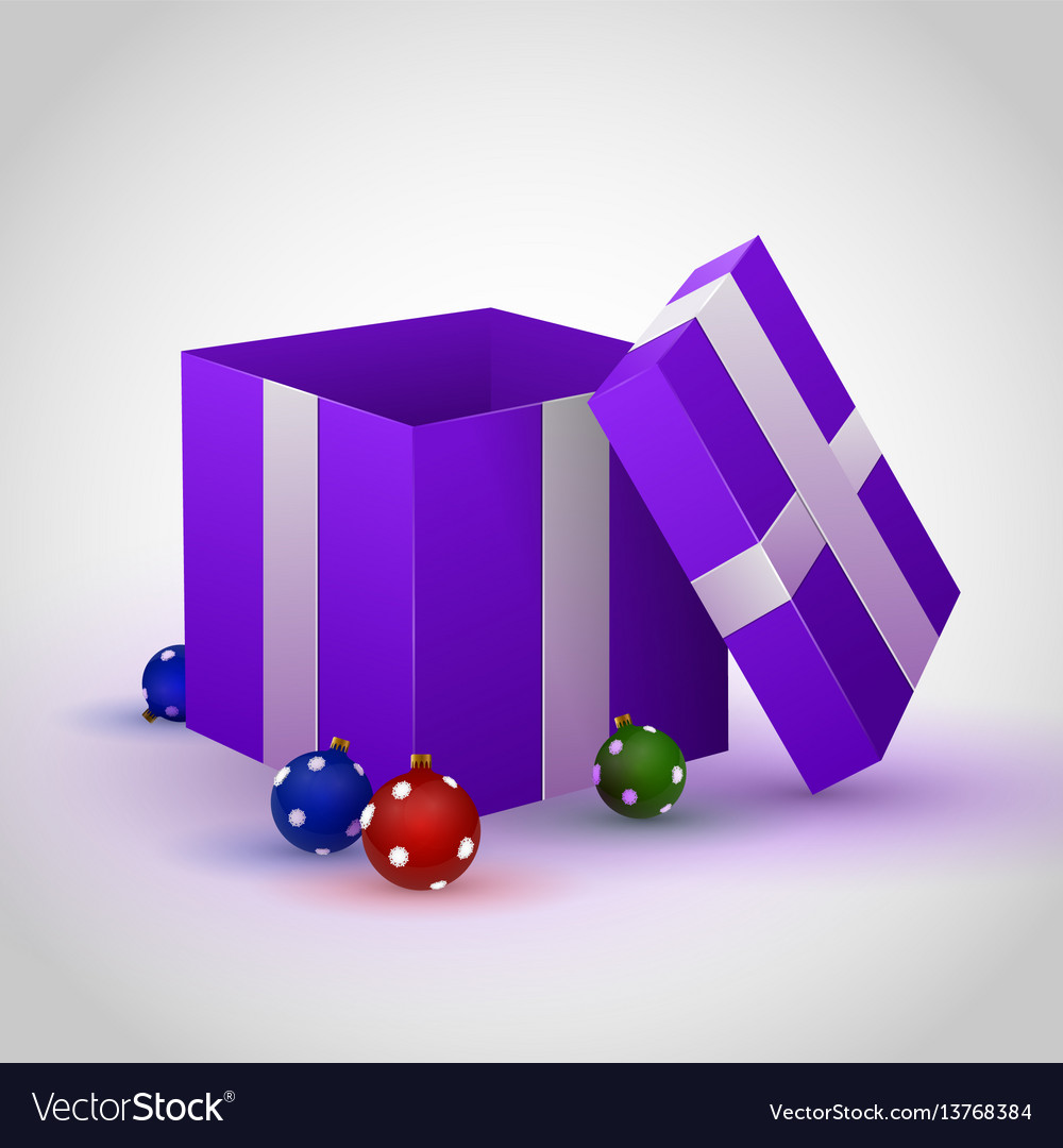 Purple gift box with cristmas toy