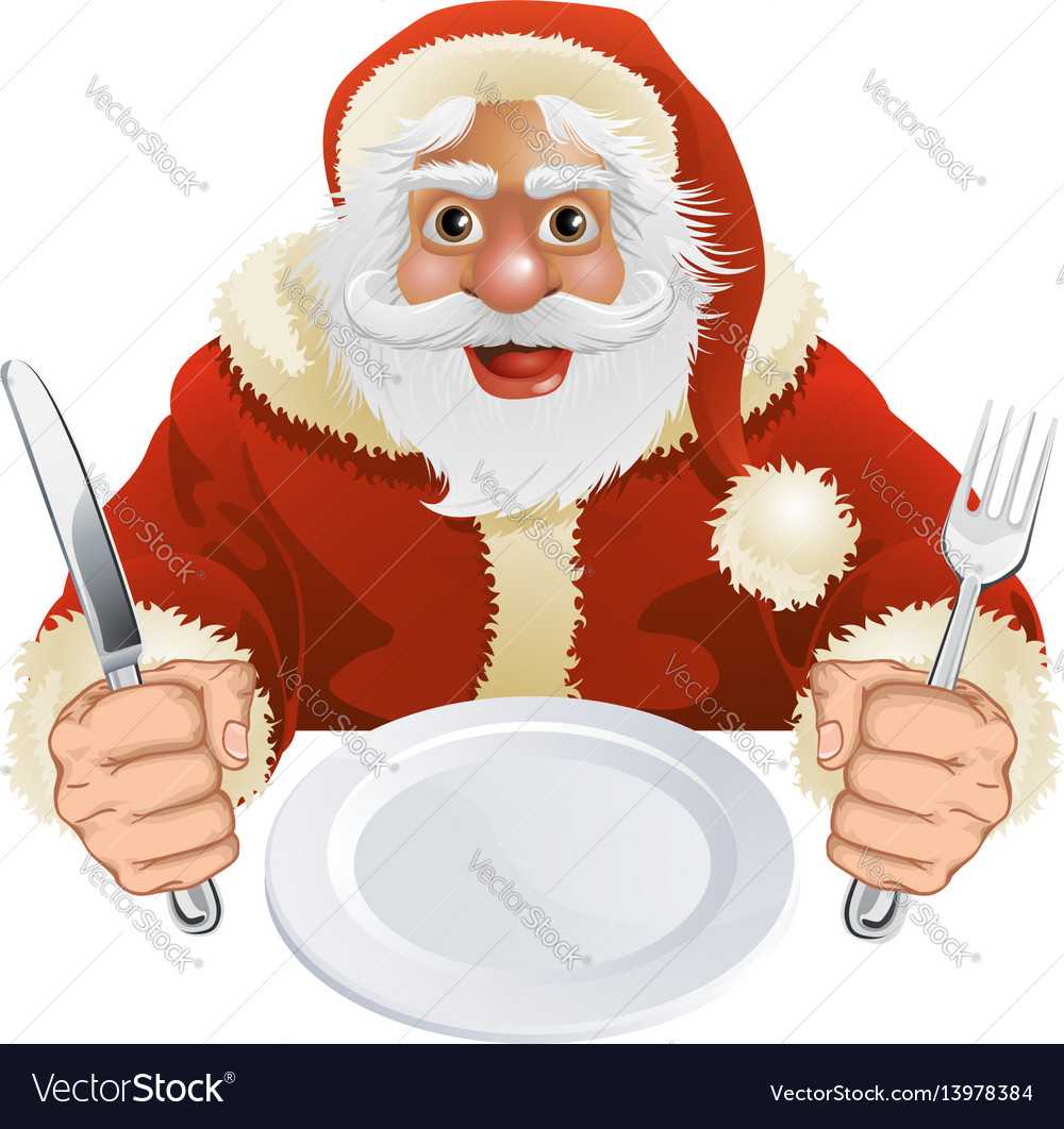 Free Christmas Dinner.Santa Claus Seated For Christmas Dinner