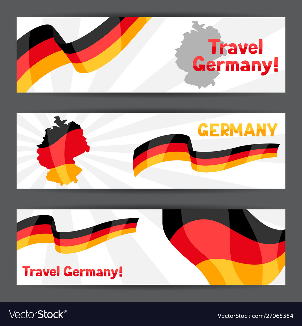 Set banners with flags and map germany vector