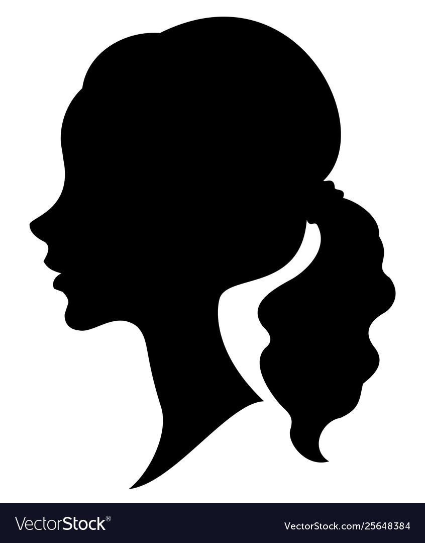 Silhouette a profile a sweet lady s head a