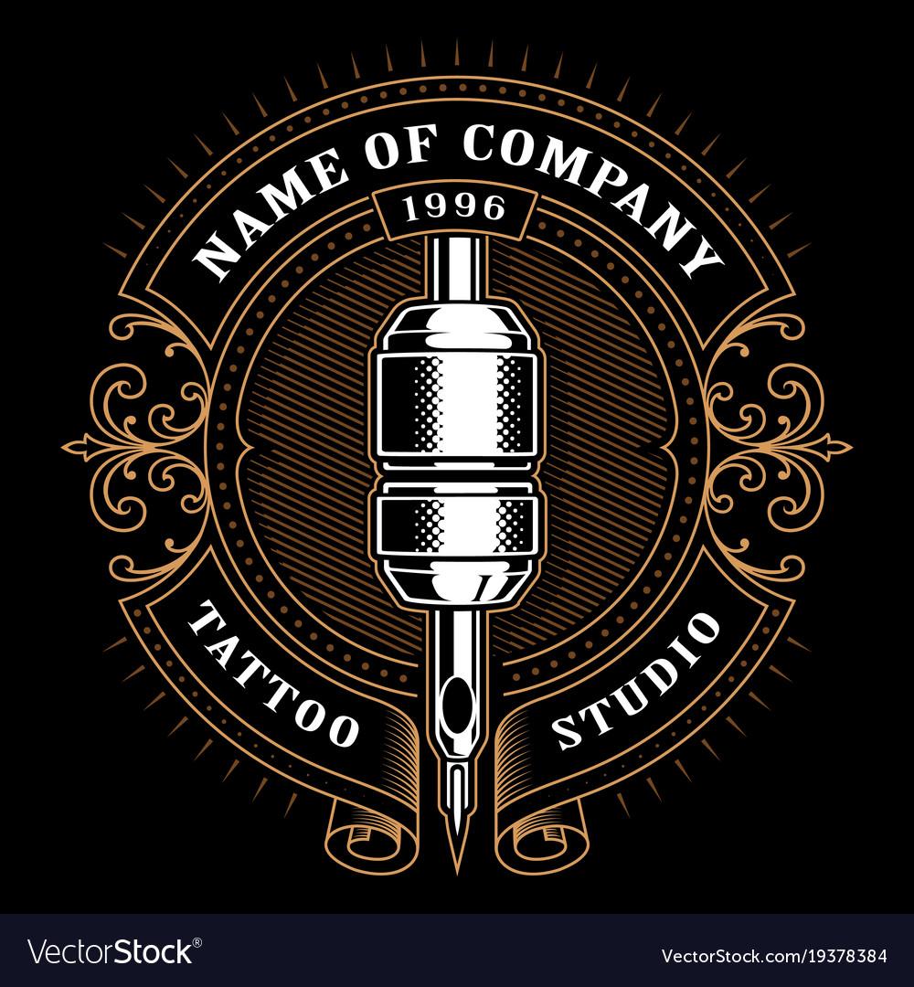 Vintage tattoo studio emblem 1 for dark background