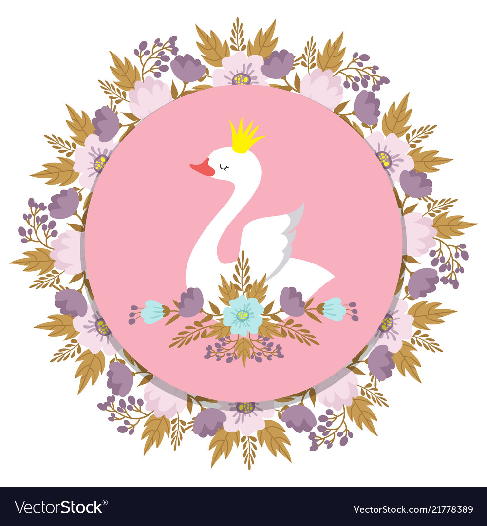Banner with princess swan and floral