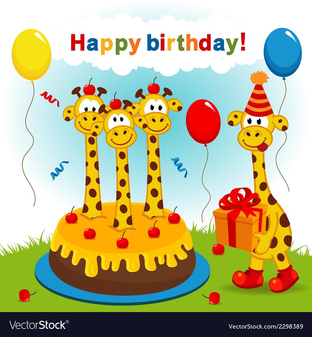 Открытки с днем рождения жираф