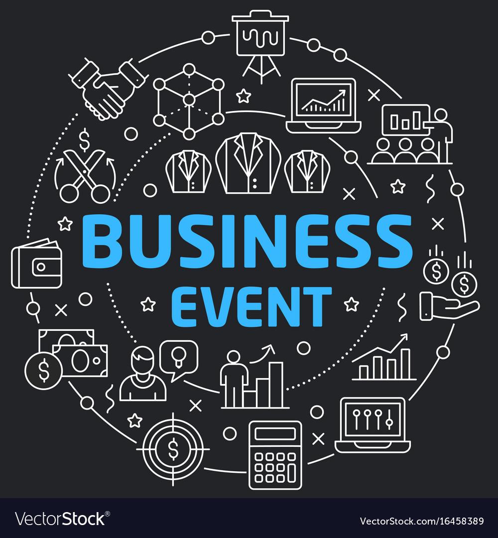 Black line flat circle business event