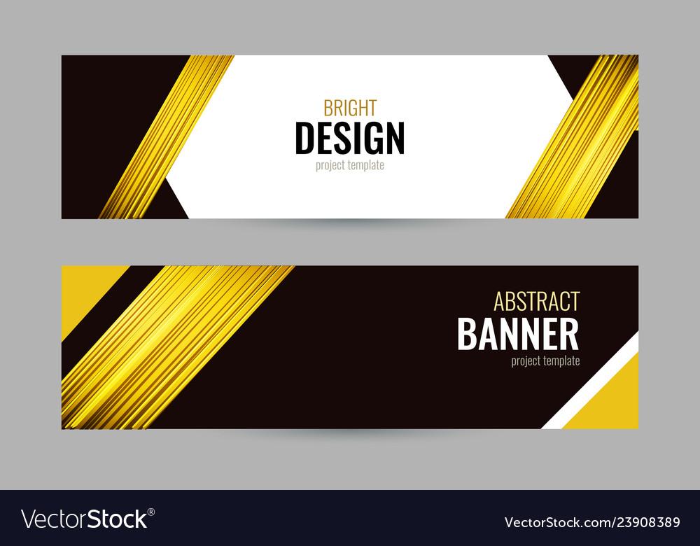 Bright banner with golden strips on dark