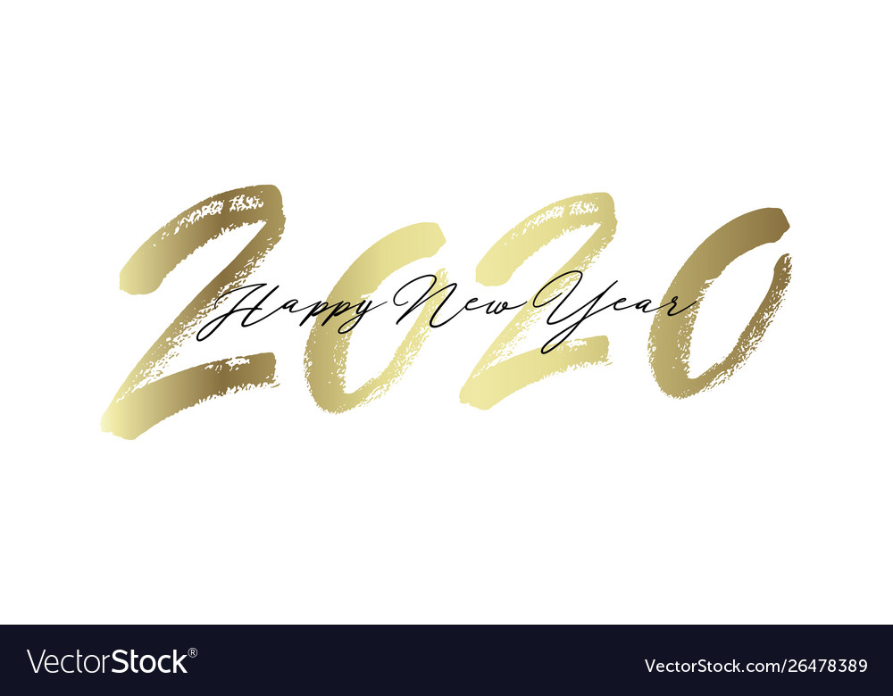 Golden inscription happy new year 2020