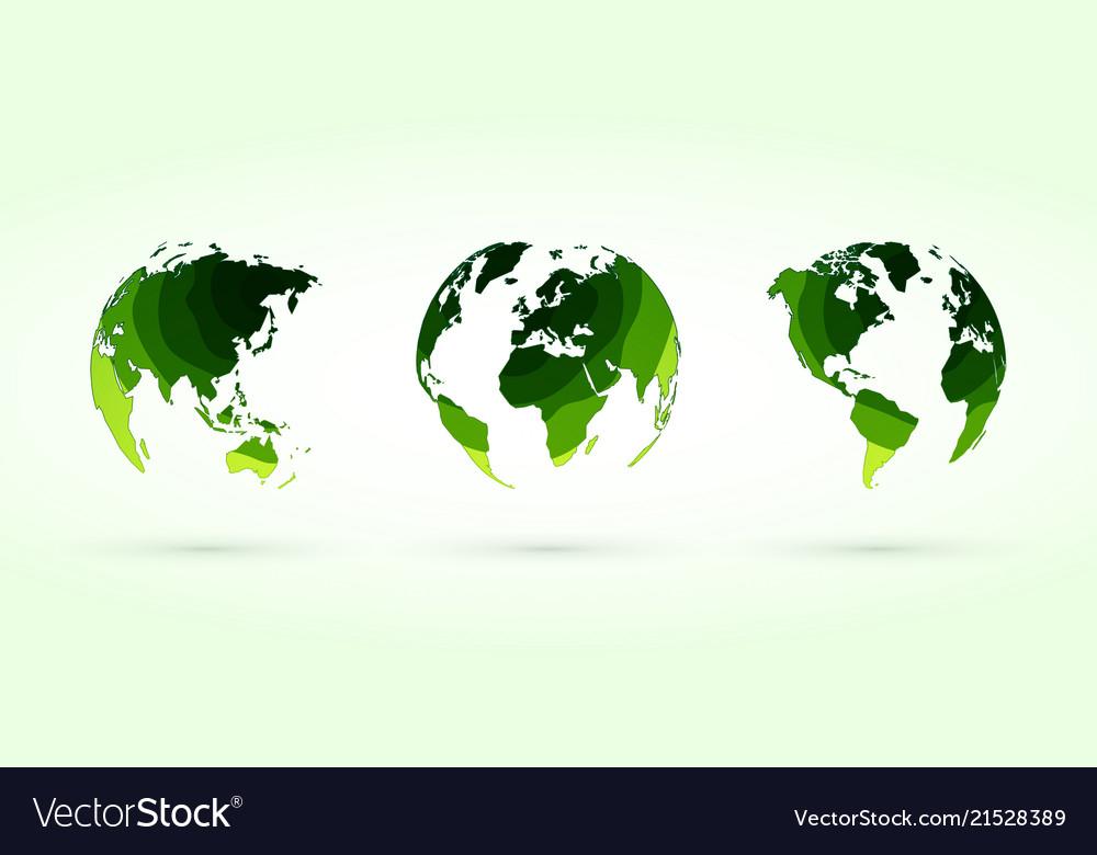Green circles globes set world planet earth