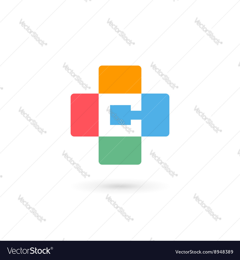 Letter C cross plus logo icon design template vector image