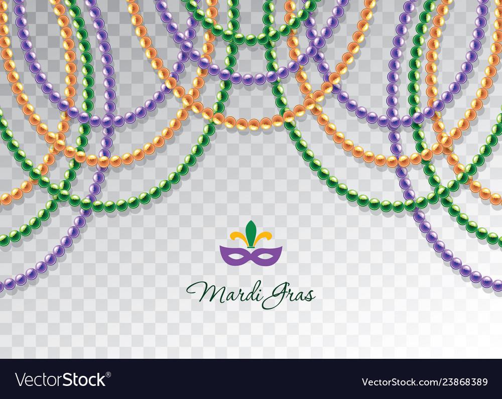 Mardi Gras Beads Garlands Horizontal Decorative Vector Image