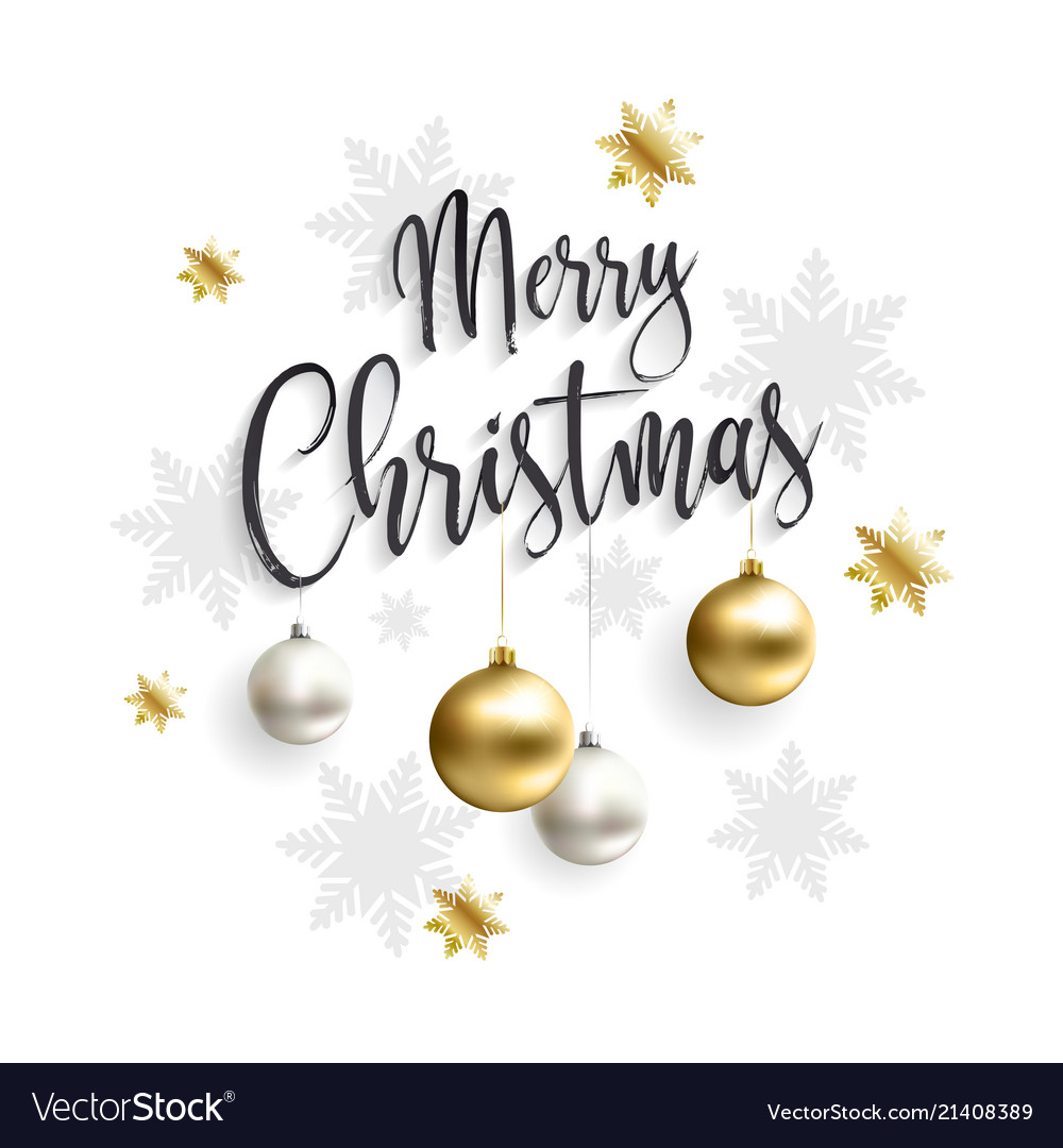 Merry christmas card with gold balls Royalty Free Vector
