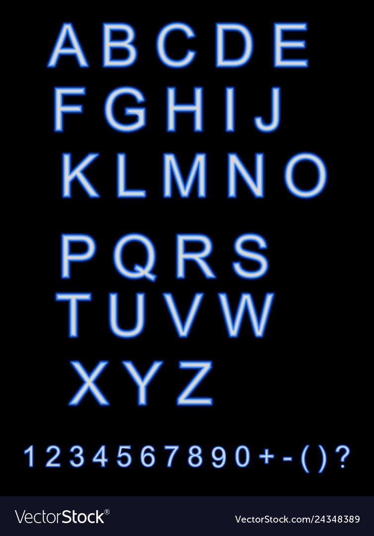 Neon city color blue font english alphabet