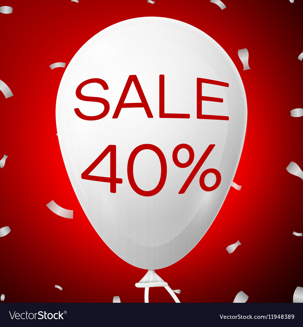 White Baloon with text Sale 40 percent Discounts