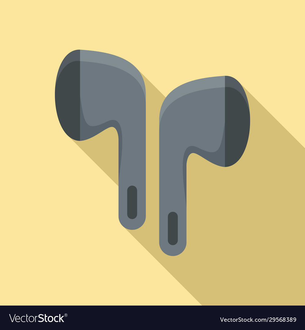 Wireless earbuds accessory icon flat style