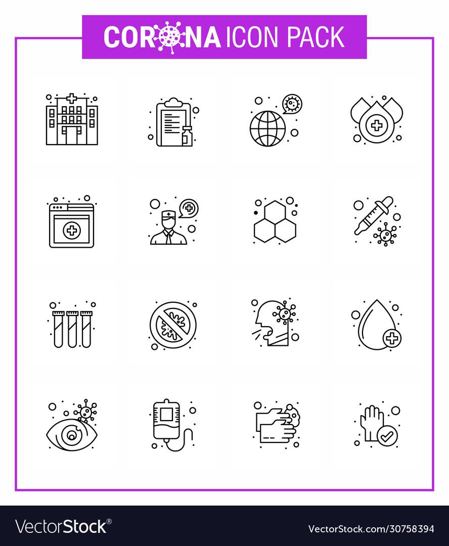 16 line coronavirus covid19 icon pack