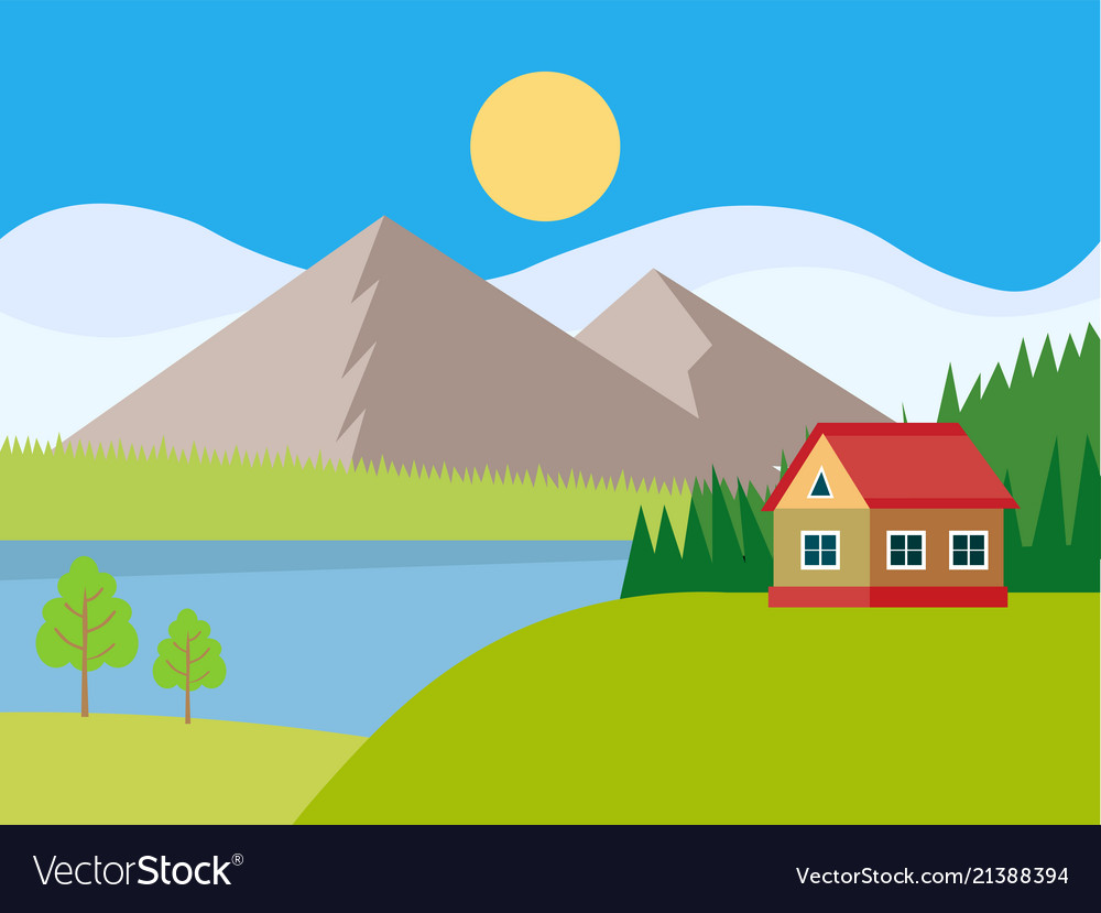 Beautiful rural landscape with houses and mountain
