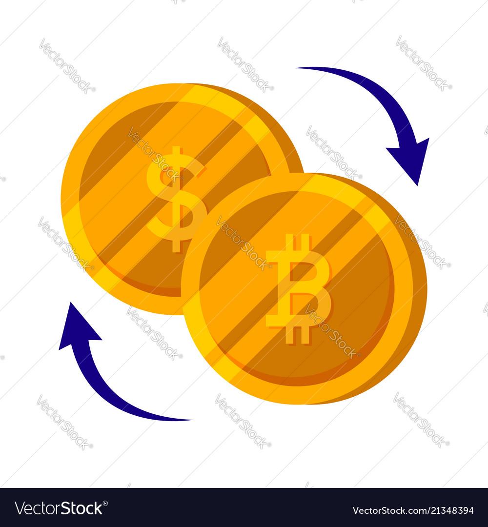 Bitcoin and dollar gold coin set finance money