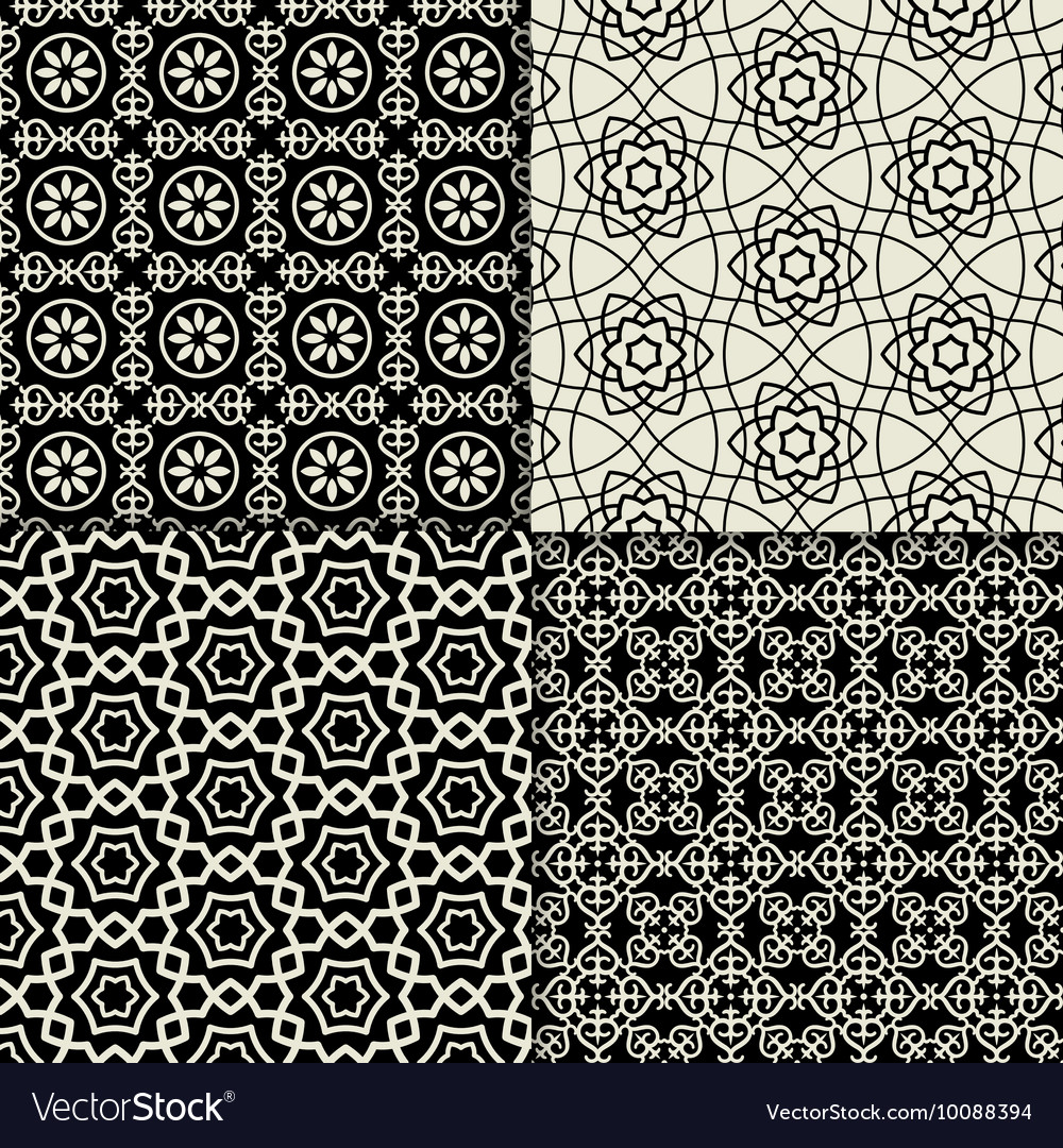 Black and white geometric ornaments set