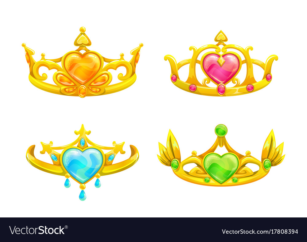 Cartoon Golden Princess Crowns Set Royalty Free Vector Image Download transparent princess crown png for free on pngkey.com. vectorstock