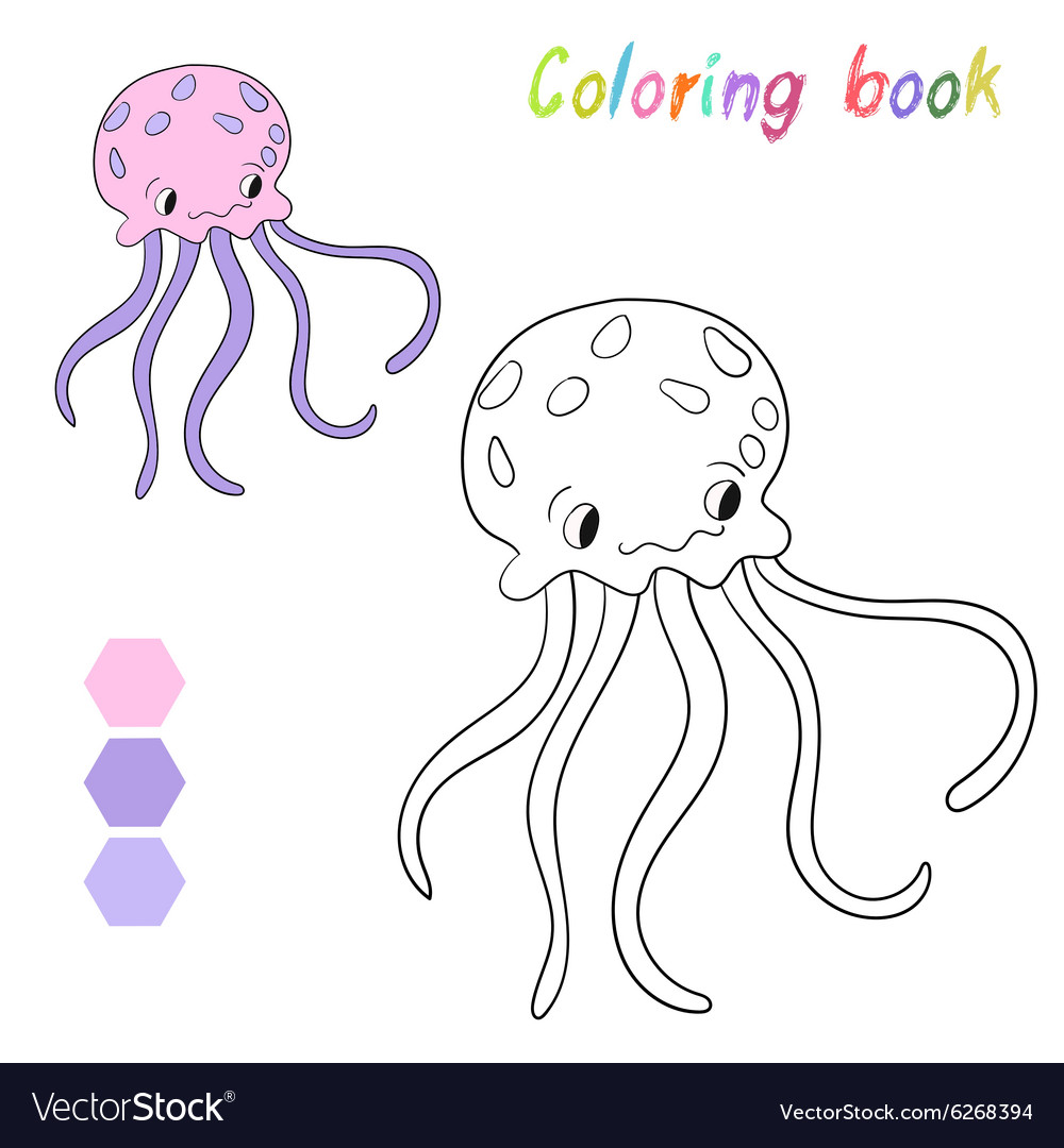 Coloring Book Jellyfish Kids Layout For Game Vector Image