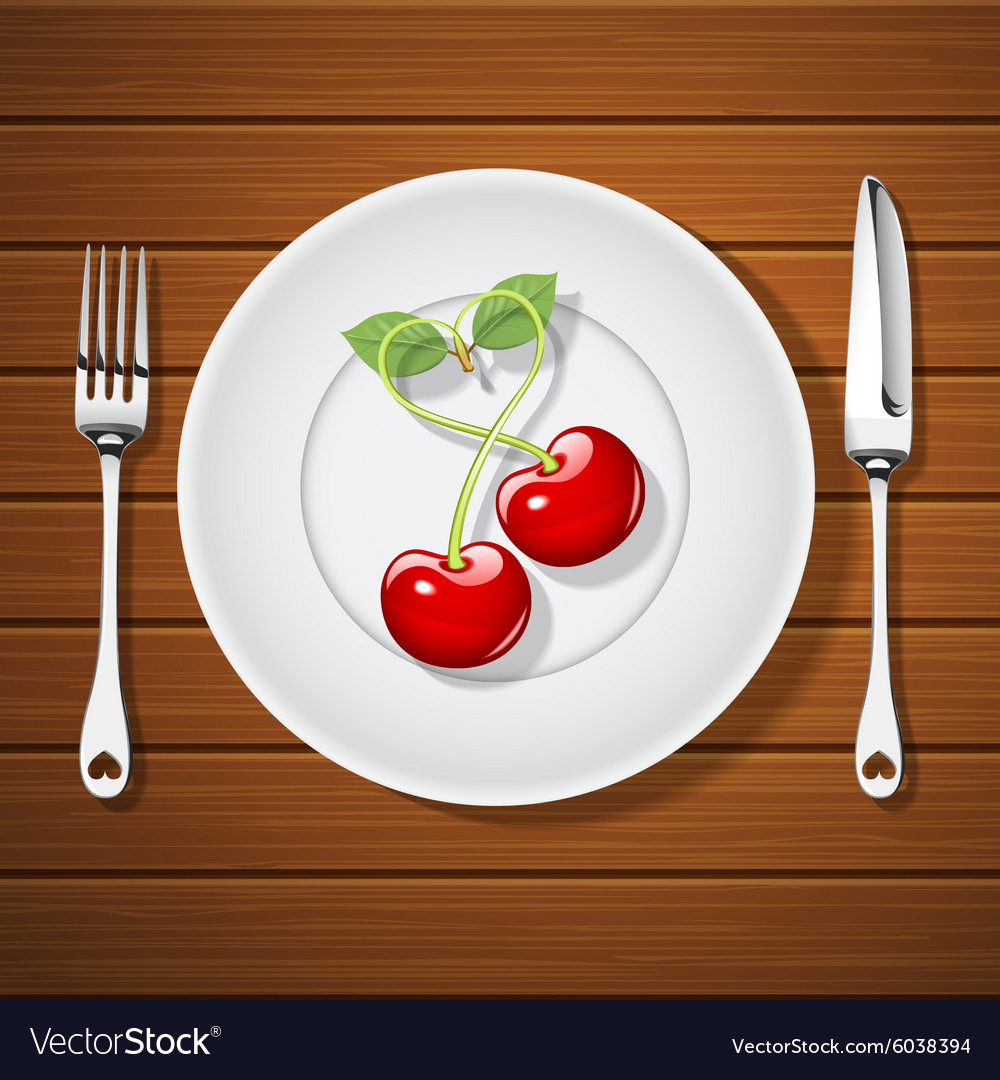 Fork with knife and cherries on plate vector image