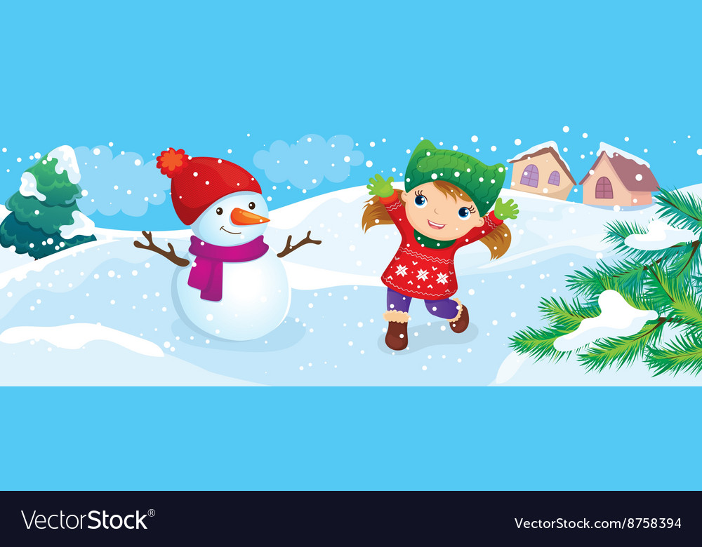 Girl With Snowman Enjoy Snow vector image