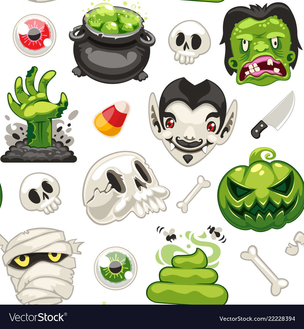 Halloween seamless pattern with cartoon monsters