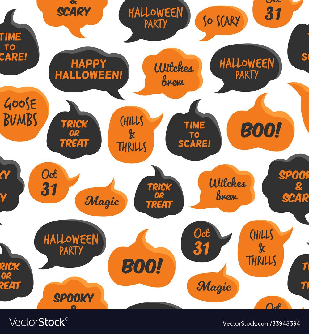 Halloween speech bubbles black and orange comic