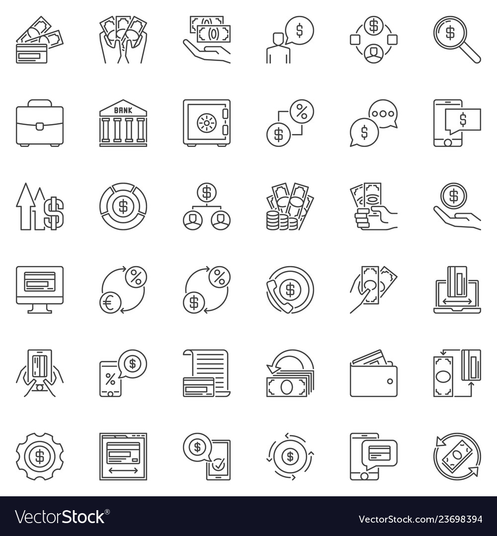Money payments and finance outline icons