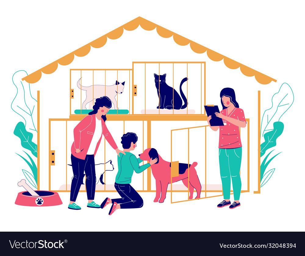 Pet shelter concept flat style design