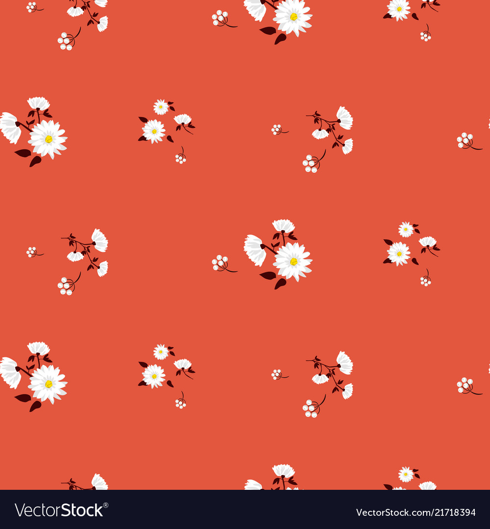 Simple florals red seamless pattern