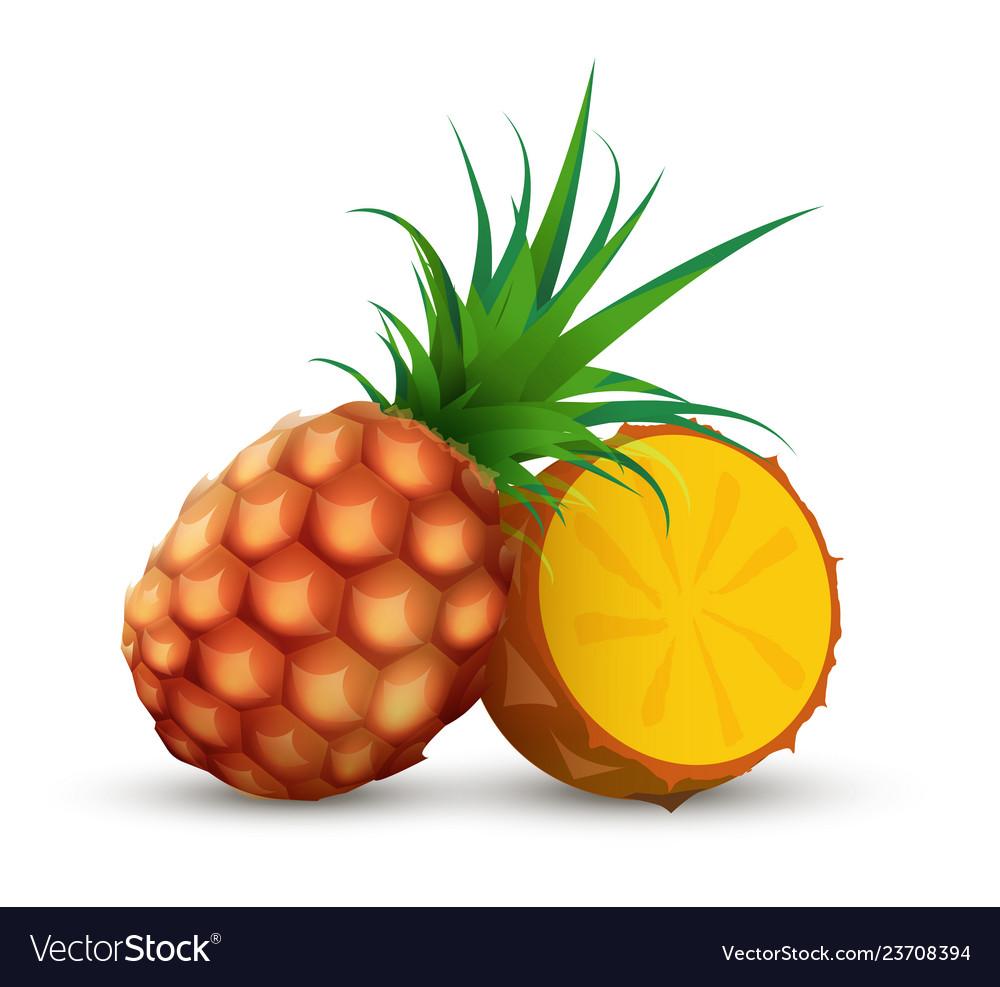Whole pineapple with half sliced piece ananas