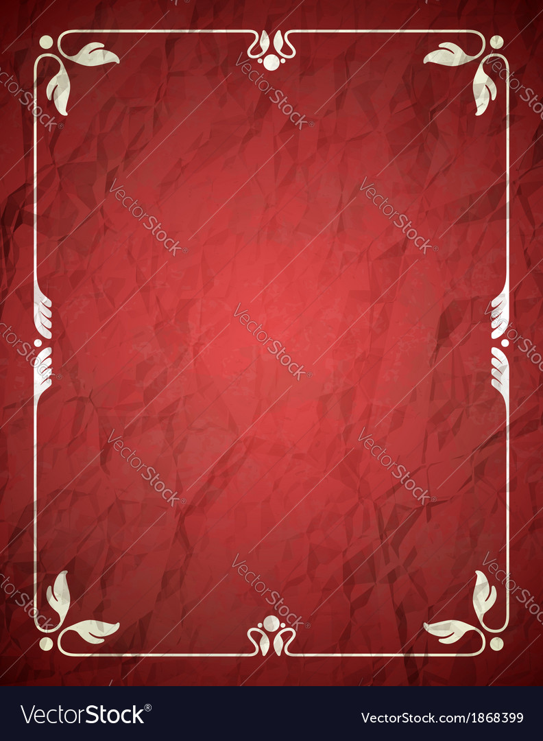 Aged crumpled red frame with vintage ornament vector image