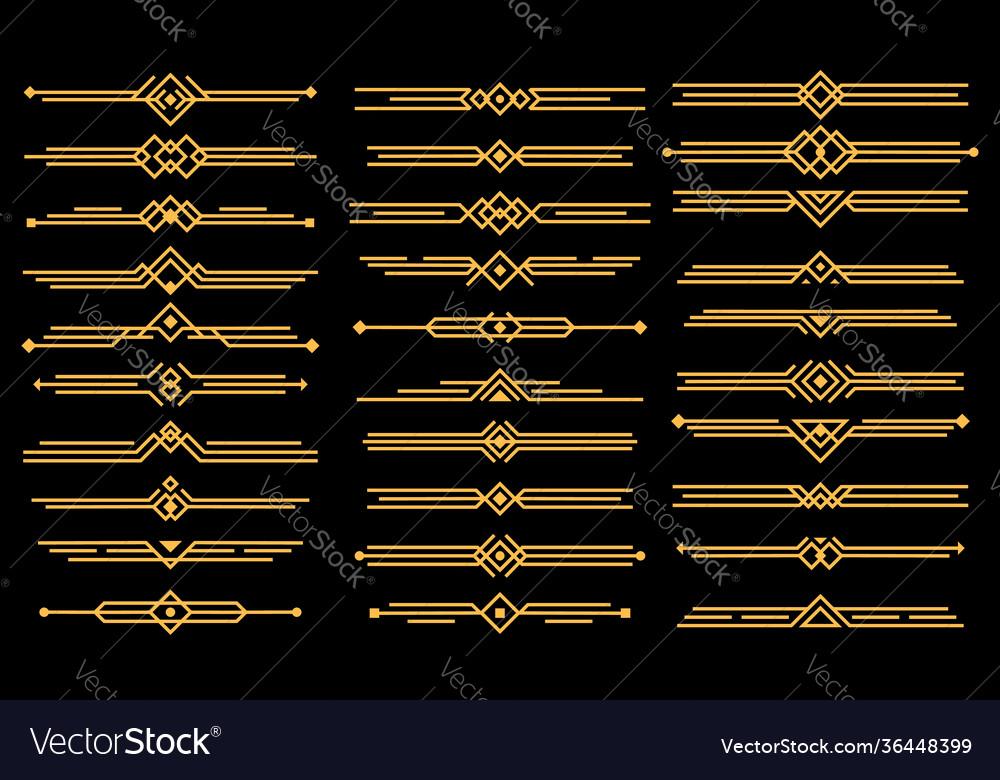Art deco elements dividers or headers set