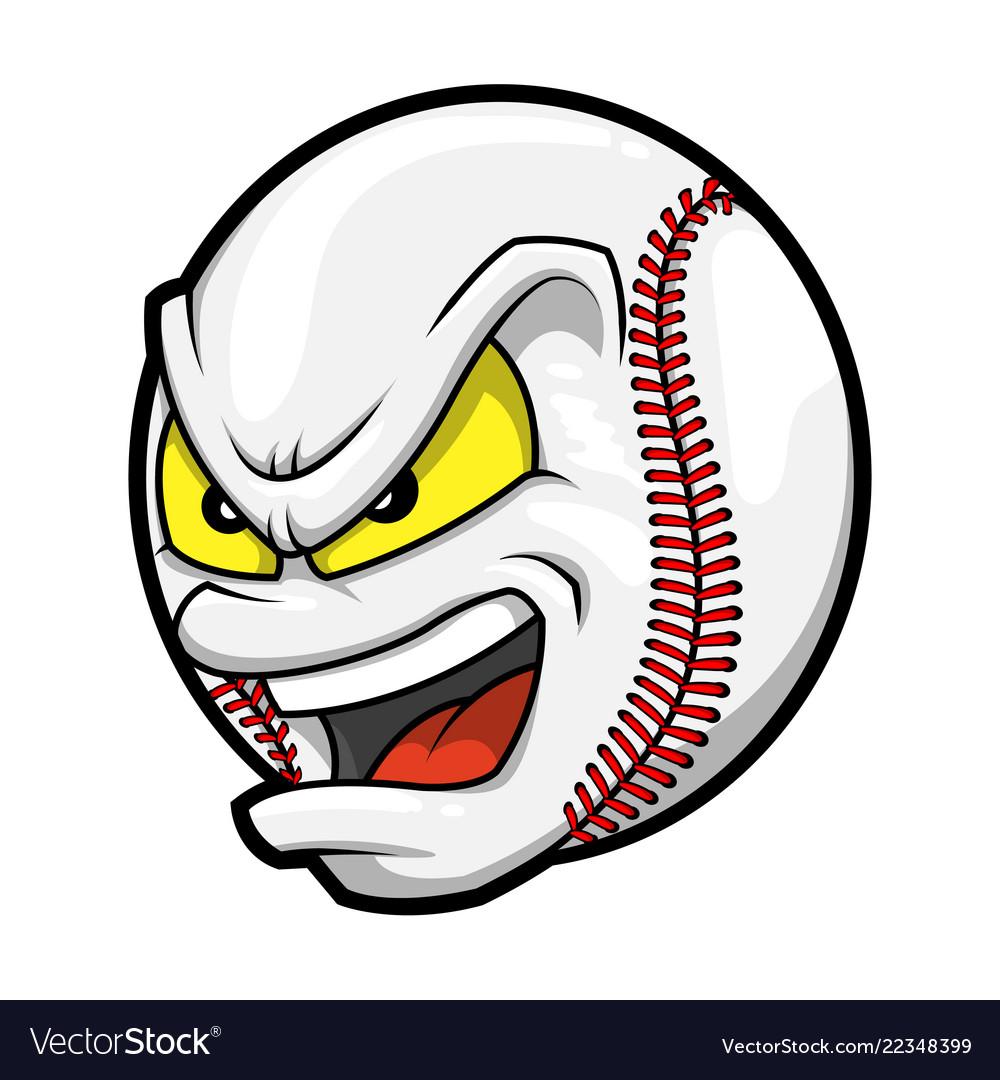 Cartoon baseball angry face