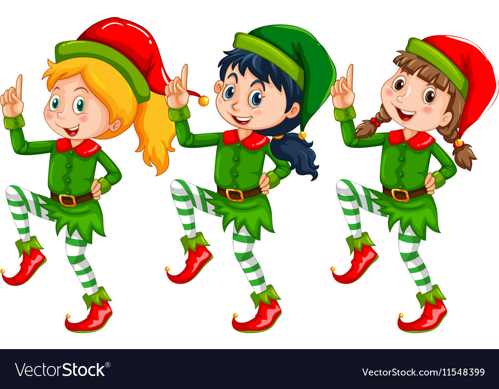 Christmas theme with kids dressed up in elf vector image
