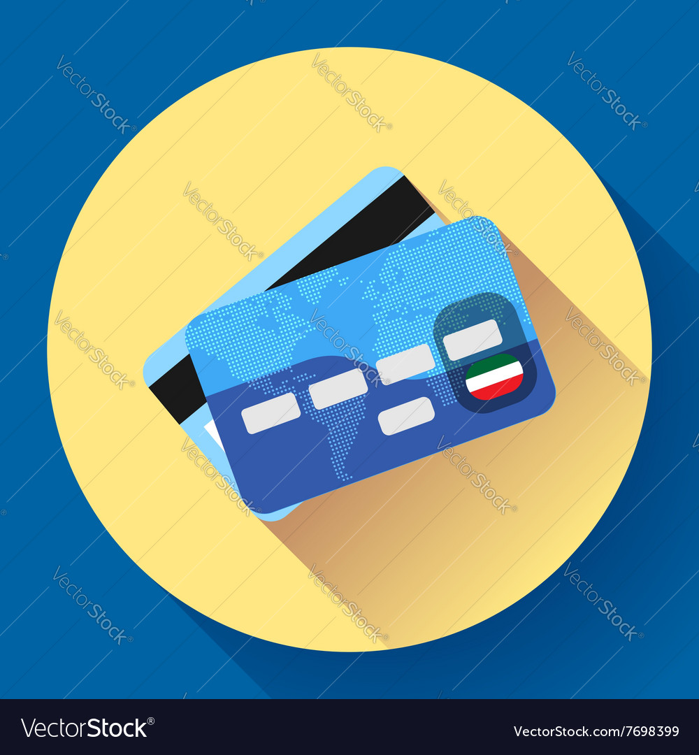 Credit Card icon with long shadow Flat